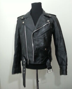 Men Leather Biker Black Jacket Size 36 Insulated Durable by Verducci