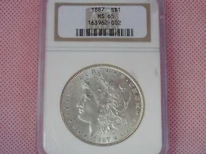 1887-P Morgan Silver Dollar, NGC MS-65!