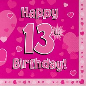 Happy 13th Birthday Party Napkins Pink Hearts 33cm Paper Serviettes Celebration