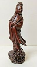 Carved Chinese Rosewood Kwan-Yin Quan Yin Lotus Base Serpent with Glass Eyes