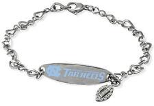 NORTH CAROLINA UNC TAR HEELS * Stainless Steel ID Bracelet w/CZ New NCAA Jewelry