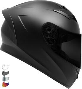 2020 GDM Venom Motorcycle Helmet DOT Matte Black + SHIELD OPTIONS - S M L XL XXL