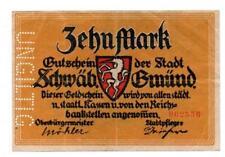 An573 Schwäb.Gmünd, 10 Mark, 1918, ungültig