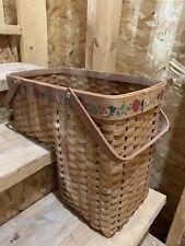 Vintage Wicker Country Stair Step Basket w/ Apple  Design