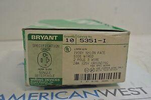 Bryant 5351-I 2P 3W IVORY SINGLE RECEPTACLE - NEW BOX OF 10