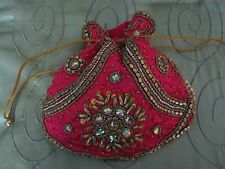 BEAUTIFUL MADE IN INDIA DRAW STRING PINK AND GOLD BEADED EVENING PURSE