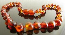 32-33 cm Genuine Baltic Amber Child Necklace - Knotted Beads, Cognac Colour
