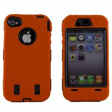 for iPhone 4 4G 4S  Orange & Black Impact Armor Hard & Soft Rubber Case Cover