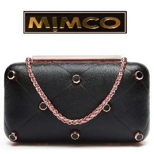 MIMCO AXIS HARDCASE BLACK METALLIC EVENING CLUTCH CROSSBODY  rrp$199 now $149