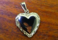 Vintage silver HEART LOCKET PHOTO HOLDER MOVABLE PENDANT charm NEW OLD STOCK