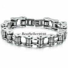Mens Stainless Steel Biker Link Chain Wristband Motorcycle Bangle Bracelet 8""