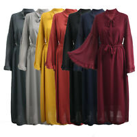 Womens Ladies Jilbab Knot Front Bell Sleeve Long Maxi Belted Dress Cocktail