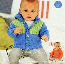 (147) Knitting Pattern Boys Girls Hooded or Collared Jackets, Easy/ Beginners