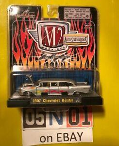 M2 MACHINES AUTO STRETCH RODS 1957 CHEVROLET BEL AIR LIMOUSINE SILVER 1:64 SCALE