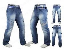 Mens Boys Crosshatch Cargo Combat Corona Regular Fit Denim Jeans +Free Belt