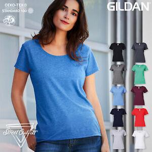 Womens Ladies Deep Scoop Neck T-Shirt Soft Cotton Gildan Softstyle Plain Top