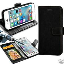 Black Rich Luxury Leather Wallet Flip Case For Various Phones & Tampered Glass