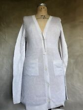 Parker Blue Light Purple V-Neck 100% CASHMERE Long Thin Cardigan Sweater S