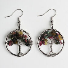 Life Silver Round Pendant Hook Earrings Natural Tourmaline Chip Beads Tree of