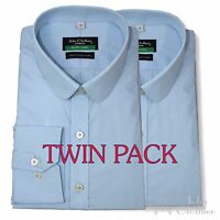 Peaky Blinders Mens Penny collar shirt Pack of 2 White Sky Blue Black Club Round