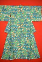 Vintage Japanese Silk Antique BORO KIMONO Kusakizome Dyde Textile/VY31/995