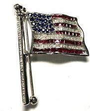 Vintage 14K White Gold Diamond Sapphire & Ruby American Flag Pin   FREE SHIPPING
