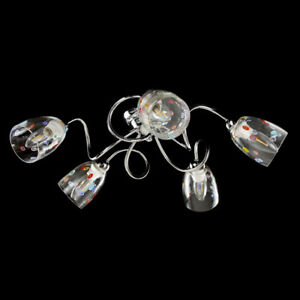 Chandelier 5 Lights Ceiling With Cups Detachable With Murrina Glass Of Murano