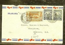 BARBADOS (P2909B) 1940 4D PR+CENT 3D KGVI A/M TO BRITISH GUIANA