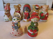 Lot 7 Vintage JASCO Critter Bells - Merri-Bells Collectible Bell Ornaments