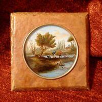 Belle miniature paysage chasse pêche signé XIXème cadre en cuir de reliure TBE