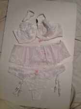 Victoria's Secret Bra Set 34DD,L,M/L Garter Stockings White Beading Lace 4pc NWT