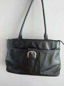 Visconti Black Genuine Leather Organiser Handbag Workwear Business Bag