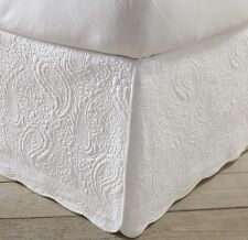 White Quilted Bed Skirt Queen Size 100% Cotton 18 Inch Drop Paisley Scalloped