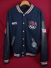 Vintage Roots 2004 USA Olympic Team Jacket Wool Blend Leather Sleeves Size XL