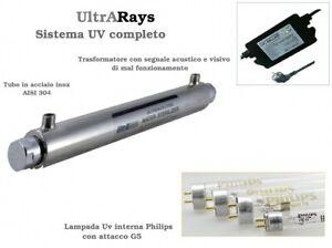 Lampada Sterilizzatore UV per acqua Sistema Uv Completo Ultrarays da 6 a 55 Watt