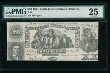 Ac T-20 $20 1861 Confederate Currency Csa Pmg 25 comment