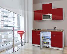Cucina Singola Mini Blocco Angolo Cottura 150 cm Bianco Rosso Respekta