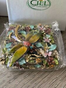 Jeweled Dragonfly and Flowers Ciel Collectible Hinged Trinket Box/Pill
