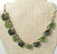 Lisner Vintage Jelly Thermoset Green Leaf Gold Tone Collar Necklace Signed