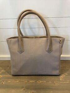 DAGNE DOVER Signature Legend Tote Bag Taupe Blush Large Gold Accents Zipper