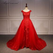 Red Detachable Train Appliques Tulle Wedding Dress Mermaid Custom Bridal Gown