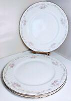 Gold Standard Genuine Porcelain China 3 Dinner Plates Pink Rose Platinum Japan