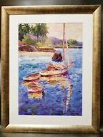 Kerry Hallam Sailboat Print Matted & Framed 39x30 Nautical Seascape