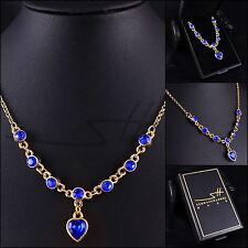 Collier Herzen, Halskette Kette Damen, Gelb-Gold, Swarovski® Kristalle, im Etui