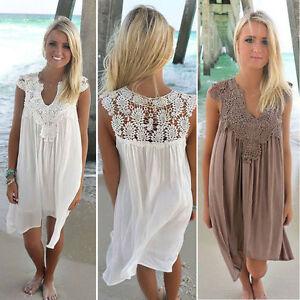 Women Summer Lace Patchwork Beach Dress Loose Hollow Out Chiffon Sundress Skirt
