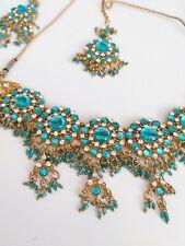 **Bollywood jewelry set - Bridal Jewelry - blue an gold Neu**