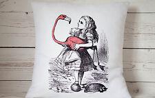 """Rosa Flamingo - 16"""" Funda De Cojín Alice in Wonderland estilo-Reino Unido Hecho a Mano"""