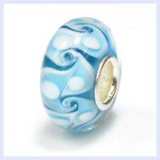 925 Sterling Silver Turquoise Swirl Murano Glass Bead f/ European Charm Bracelet