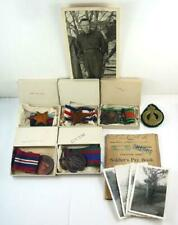5 Ww Ii Canadian Medals & Ribbons & Original Box, Photos, Pay Book & Cap Badge