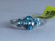 Size 8 Natural Cambodian Blue & White Zircon Trilogy Sterling Silver Ring